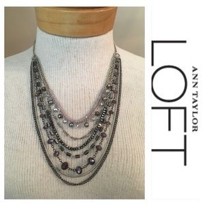 LOFT 8 Strand Necklace Hematite Beads Cut Glass